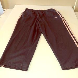 Adidas Gray with Pink Stripes Capri Joggers